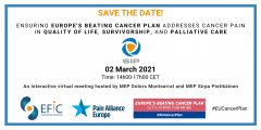 "The Societal Impact of Pain will host a virtual event on the 2nd of March 14h00-17h00 CET. The event is entitled ""Ensuring Europe's Beating Cancer Plan addresses cancer."